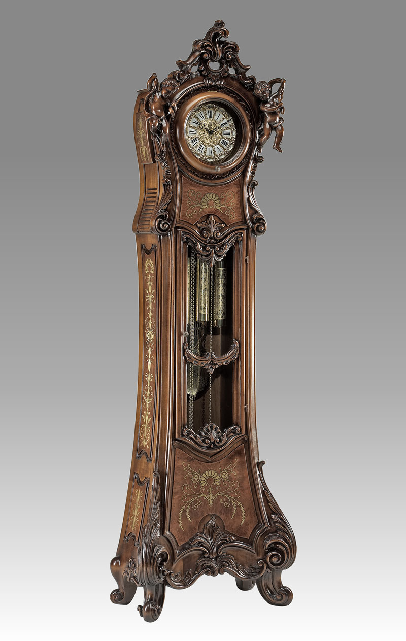 Grandfather clock Art.530/9 walnut with brass inlay with Angel