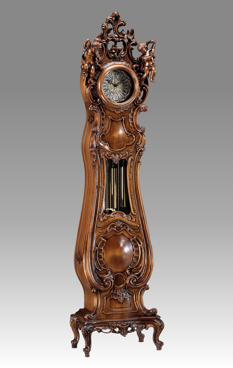 Grandfather clock Art.531/1 walnut with 2 Angel