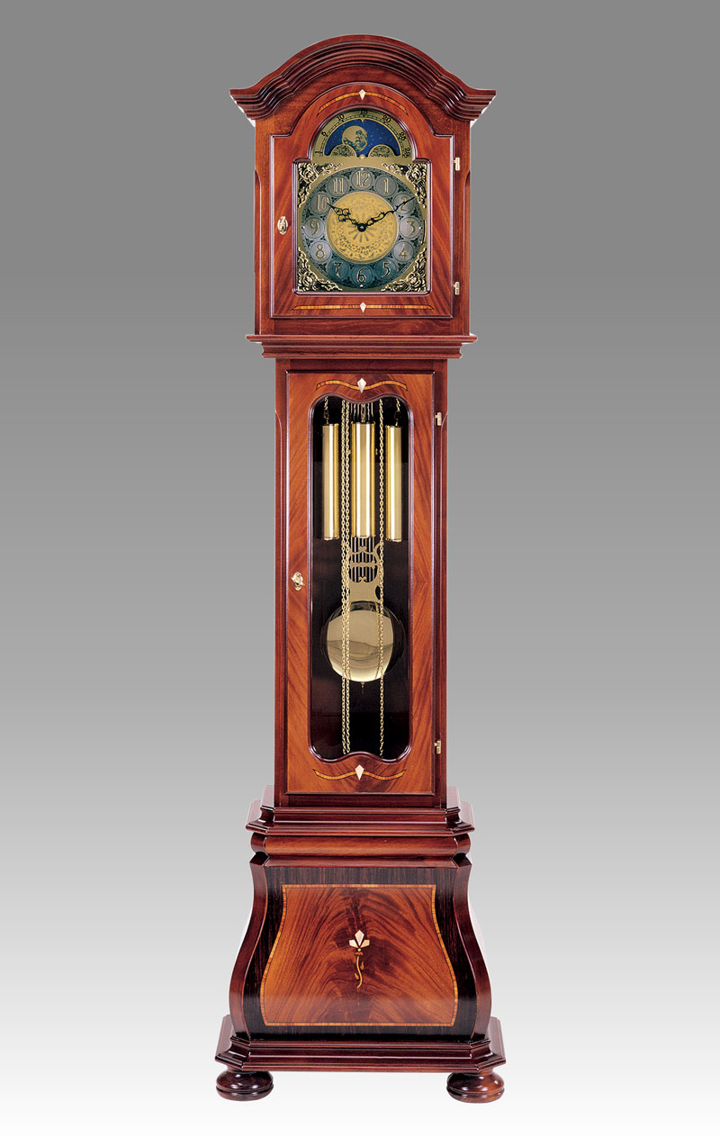 Grandfather clock Art.538/5 mahogany, palissander, matherpearl inlay