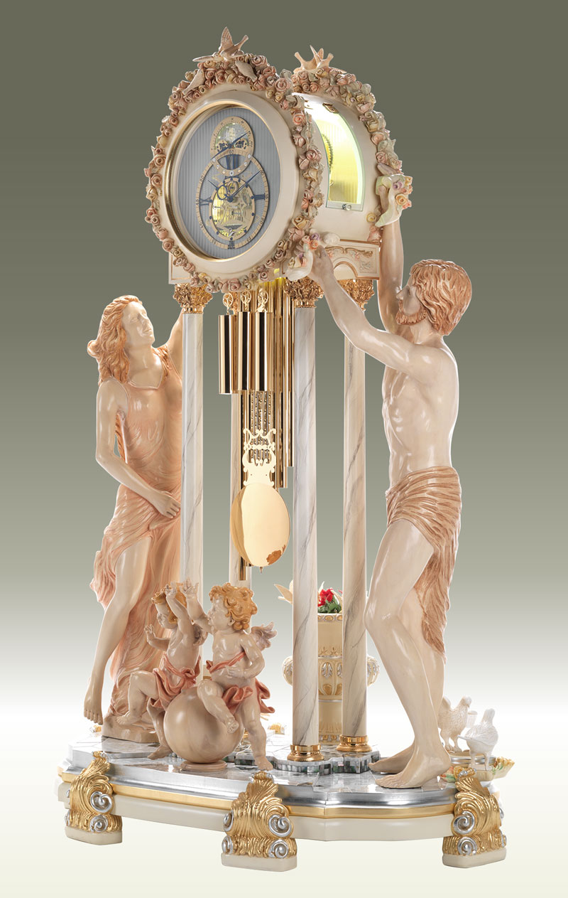 Curio Grandfather clock Art.568/2 Double face clock, Title: Time s Allegory, Rappresentation of Greek Mitology, Helios and Selene, respective the sun god and the goddess of the moon
