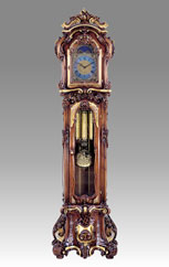Grandfather Clock 507 walnut whith gold and decoration
