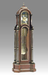 floor clock Art.508/2 cherry and maple root with black and gold