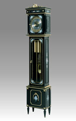 Grandfather Clock 509 lacquered black with decoration