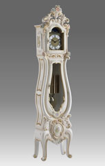 floor clock Art.511/2 lacquered white with gold and decoration