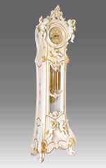 floor clock Art.530/8 lacquered white patinated with gold and decoration