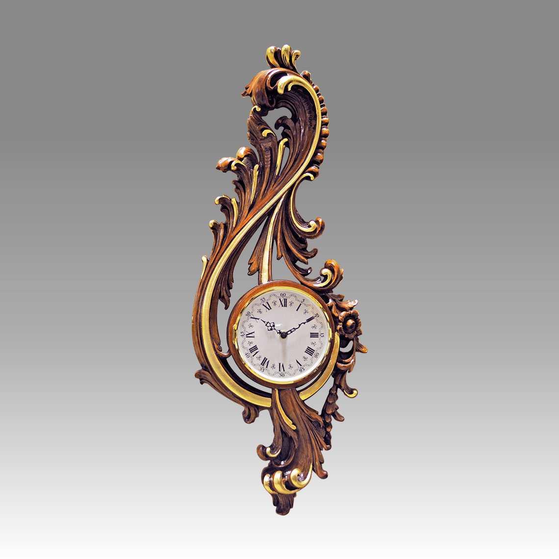 Wall Clock-Vienna Clock 208_1G walnut with gold leaf handcurved wood, quartz battery movement