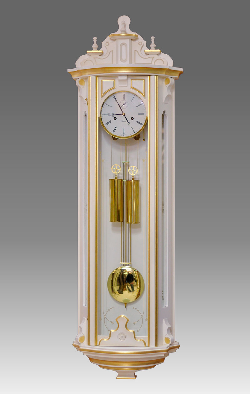 Regulator-Vienna- clock Art.423/2 lacquered white patinated with gold leaf - bim bam melody on coil gong