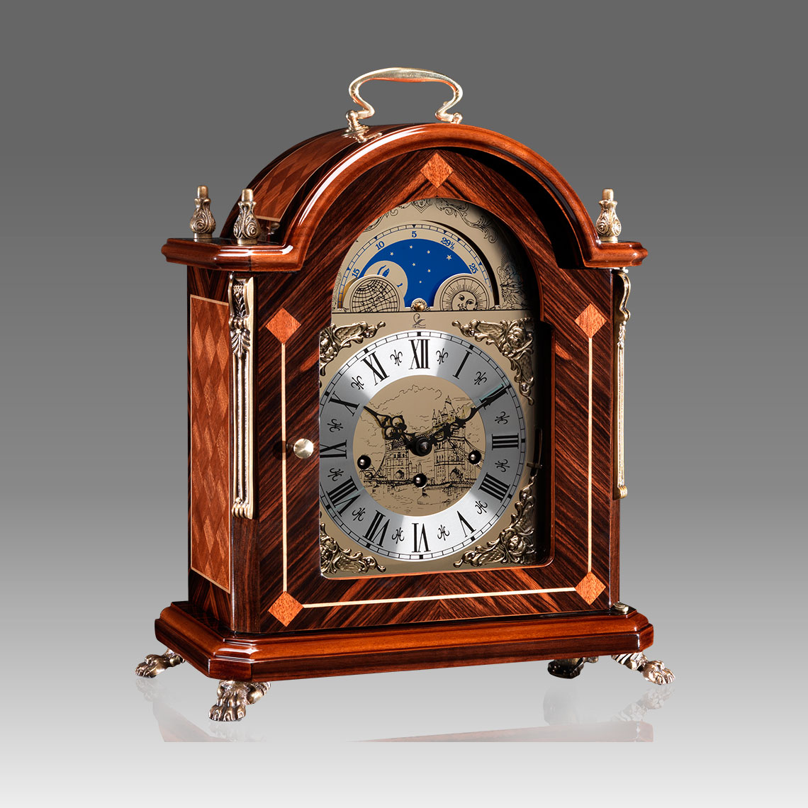 Mante Clock, Table Clock, Cimn Clock, Art.321/6 Ebony and mahogany sipo - Westminster melody on rod gong, moon fase dial