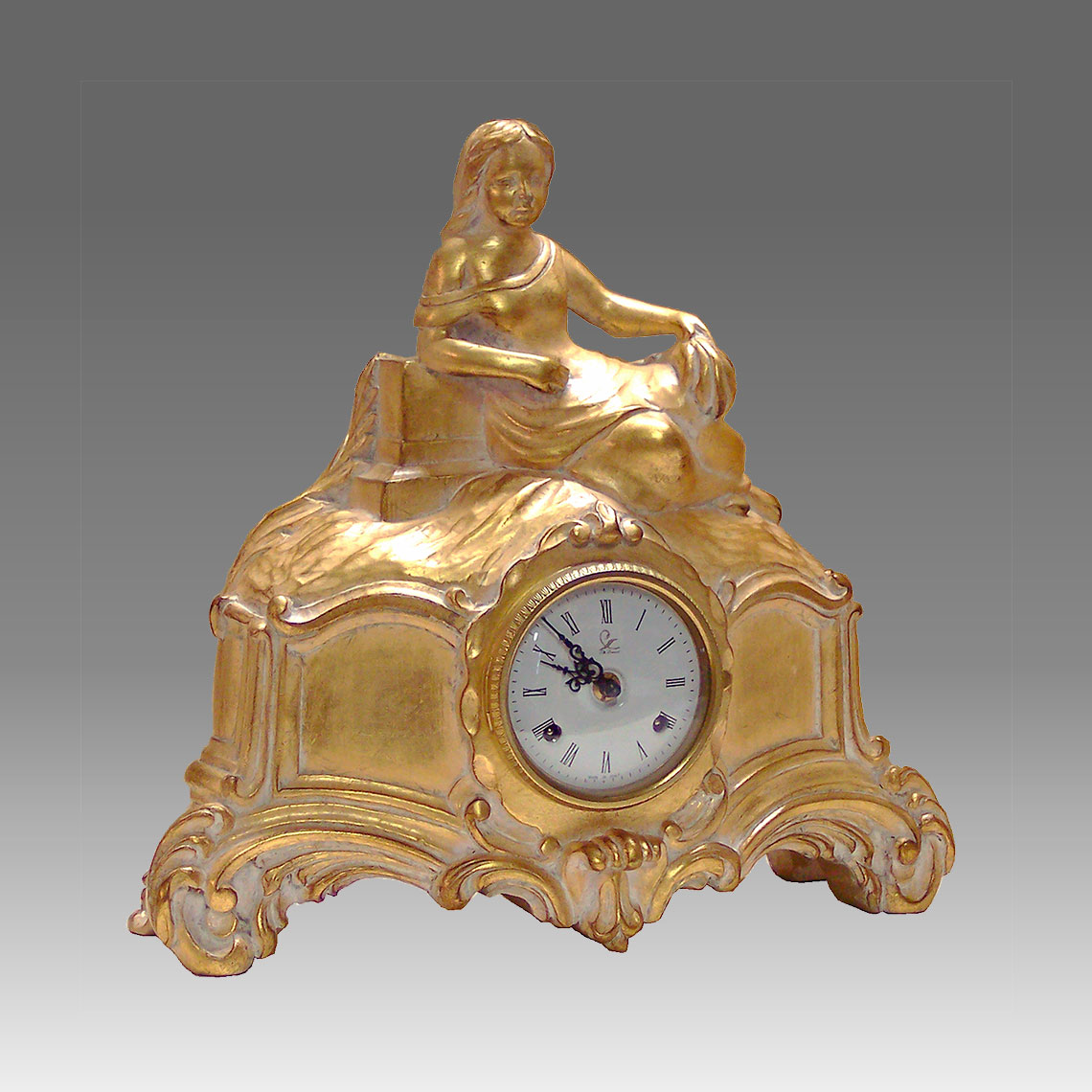 Mante Clock, Table Clock, Cimn Clock, Art.324/G in gold leafe de cape white - Bim Bam melody on Bells, white round dial