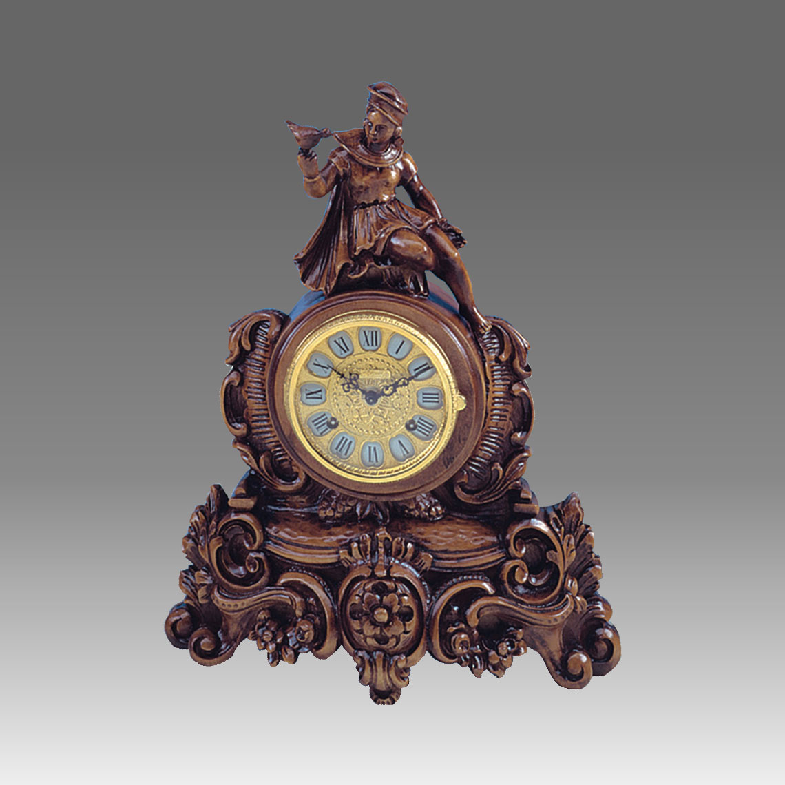 Mante Clock, Table Clock, Cimn Clock, Art.332/1 walnut - Bim Bam melody on Bells, gilt gold round dial