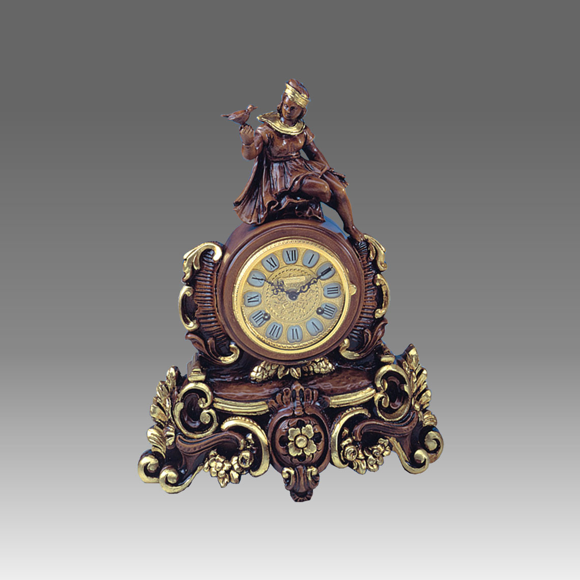 Mante Clock, Table Clock, Cimn Clock, Art.332/2 walnut with gold leaf - Bim Bam melody on Bells, gilt gold round dial
