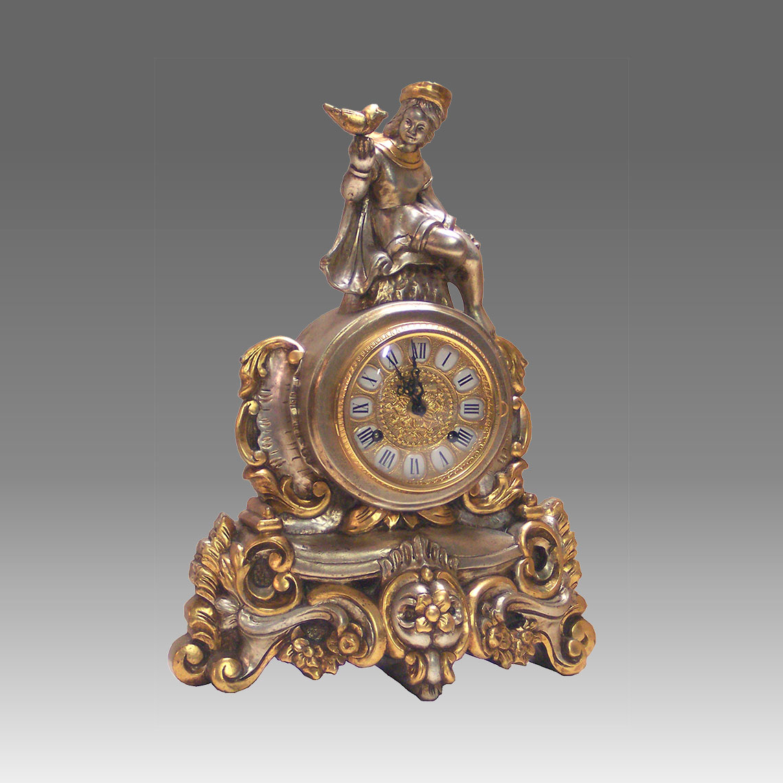 Mante Clock, Table Clock, Cimn Clock, Art.332/SG in silver leaf whith gold leaf particular- Bim Bam melody on Bells, gilt gold round dial