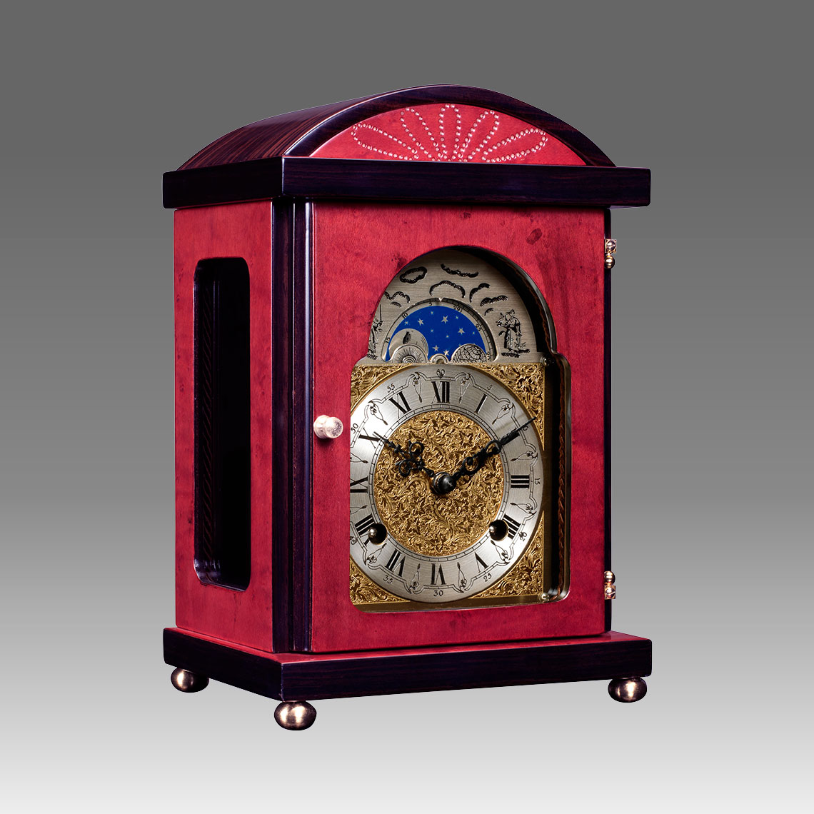Mante Clock, Table Clock, Cimn Clock, Art.340/6 Erable red wood - Bim Bam melody on Bells, eatched decorated moon fase dial