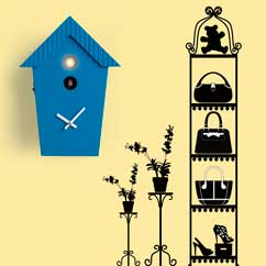 contemporary cuckoo clock Art.cottage 2595 lacquered with acrilic color blue, with environment