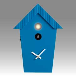 Contemporary cuckoo clock Art.cottage 2595 lacquered with acrilic color blue